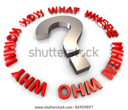3d question mark encircle with question words - stock photo