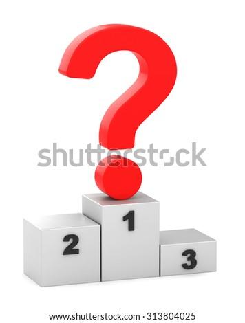 3d question mark on a pedestal - stock photo