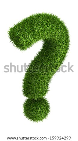 3D question mark  photo realistic isometric projection grass ecology theme on white - stock photo