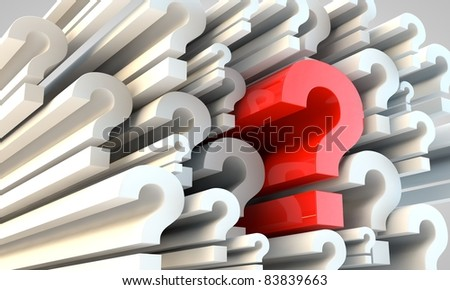 3d question marks in perspective - stock photo
