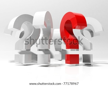 3D question marks isolated on white - stock photo