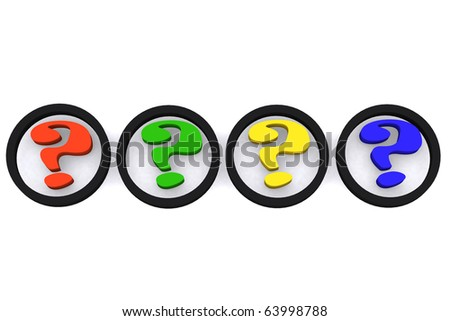 3d question symbol on white isolated background - stock photo