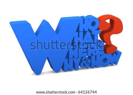 3d question symbol with who why where what and how word - stock photo