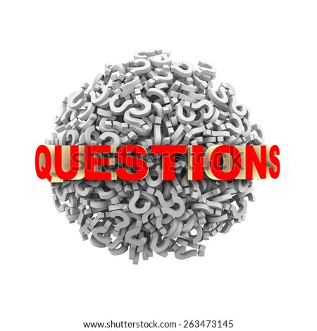 3d questions text on question mark sphere ball - stock photo