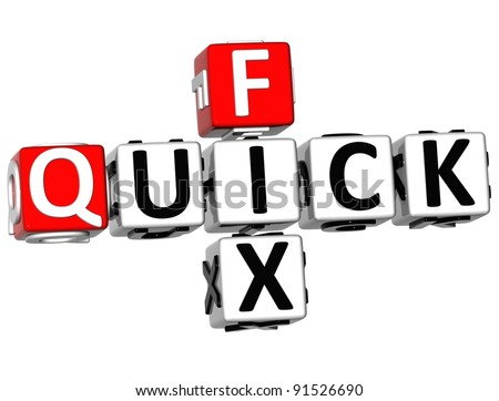 3D Quick Fix Crossword on white background - stock photo