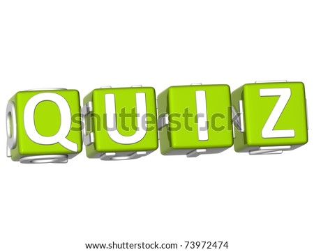 3D Quiz Cube text on white background - stock photo