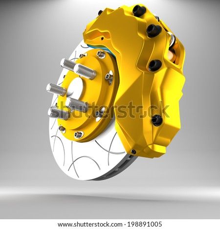 3d racing brakes in the background. - stock photo