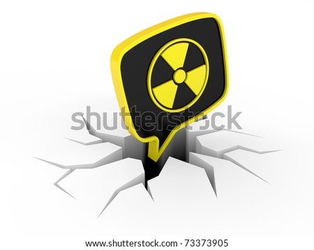3D Radiation Sign and crack on a white background - stock photo