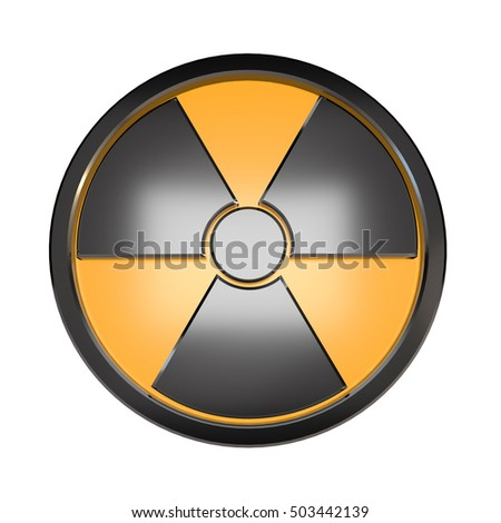 3D radiation sign on a white background.