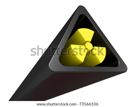 3D Radiation Sign on a white background