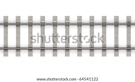 3d rails horizontal top view - stock photo