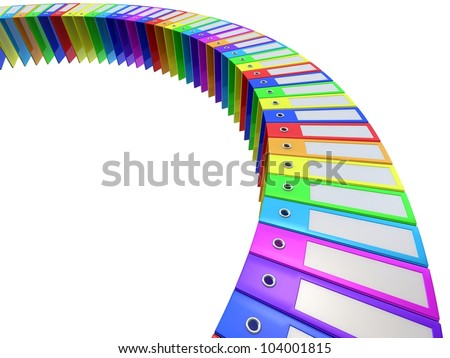 3D rainbow office folders - stock photo