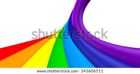 3D Rainbow twisted line, object isolated - stock photo