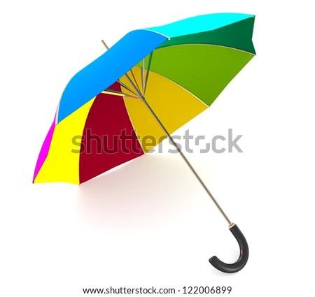 3d Rainbow umbrella - stock photo