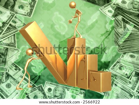 3D Raising The Bar Graph Concept - stock photo
