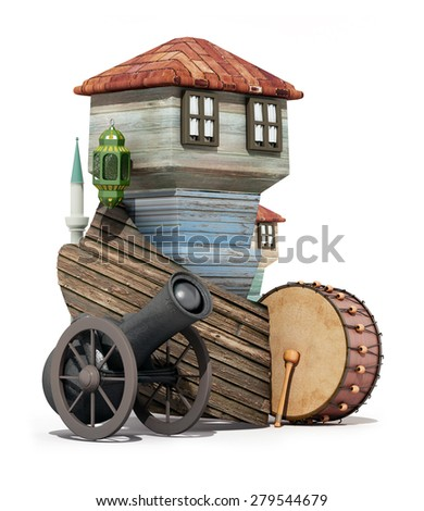 3d ramadan concept-frame board ,ramadan gun,muslim neighborhood - stock photo