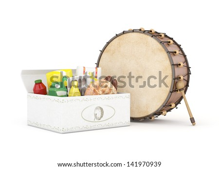 3d ramadan drum and rations packages - isolated - stock photo
