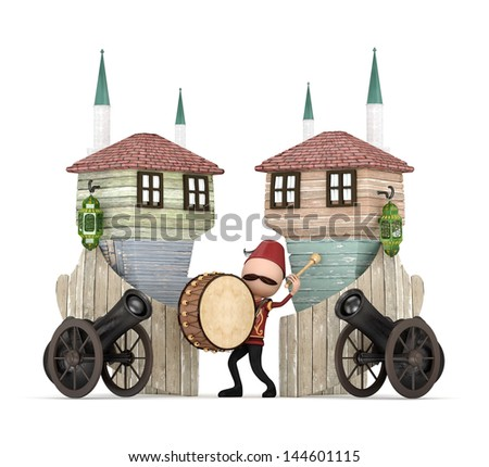 3D Ramadan Drummer in Muslim neighborhood-isolated - stock photo