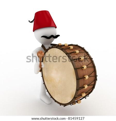 3D Ramadan drummer isolated - stock photo