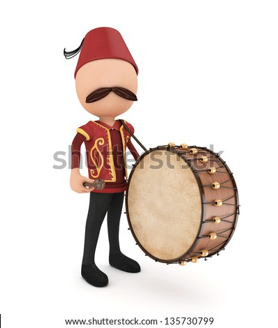3d ramadan drummer with drum- isolated - stock photo