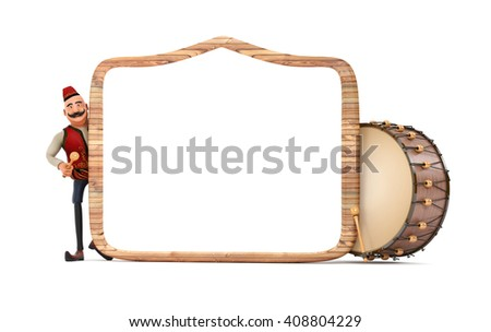 3d ramadan drummer with wooden frame and drum