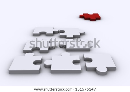 3D Rander of  Puzzles with one Red Piece