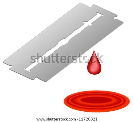 3d razor blade with blood dripping into pool - self inflicted wound - vector - stock photo
