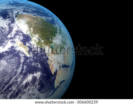 3D Realistic Earth planet on black space background - stock photo