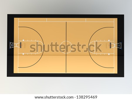 3d Realistic Illustration of Basketball Court - Top View - stock photo