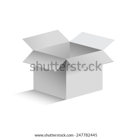 3D realistic isolated gray opened box on white background. - stock photo