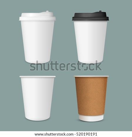 3D Realistic set of  paper Coffee Cups. Paper Coffee Cup Mockup