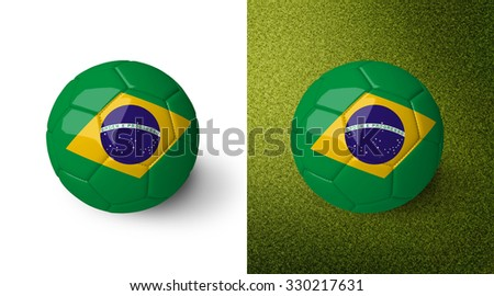 3d realistic soccer ball with Brazil flag on it isolated on white background and on green soccer field. See whole set for other countries.
