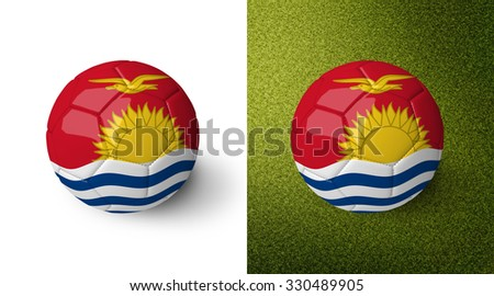 3d realistic soccer ball with the flag of Kiribati on it isolated on white background and on green soccer field. See whole set for other countries.