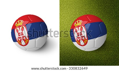 3d realistic soccer ball with the flag of Serbia on it isolated on white background and on green soccer field. See whole set for other countries.  - stock photo