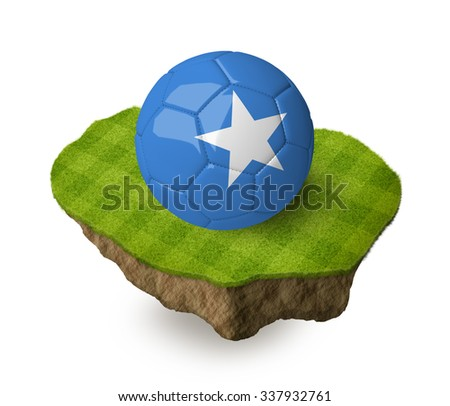3d realistic soccer ball with the flag of Somalia on a piece of rock with stripped green soccer field on it. See whole set for other countries. - stock photo