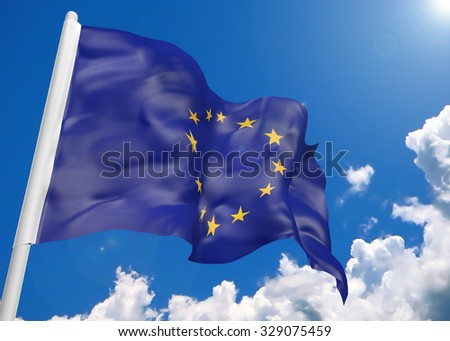 3D realistic waving flag of European Union