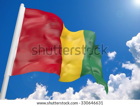 3D realistic waving flag of Guinea