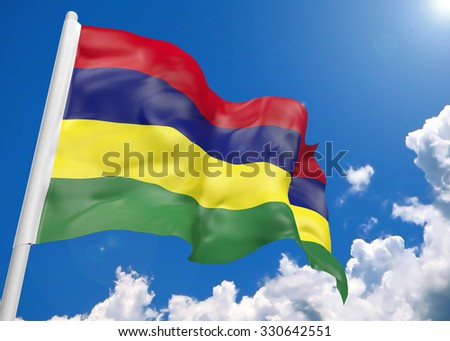 3D realistic waving flag of Mauritius