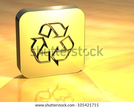 3D Recycle Gold Sign over yellow background