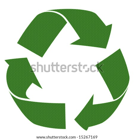 3d recycle patterned symbol isolated against white background - stock photo