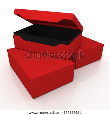 3d red and black container for shoes products, leather, clothes, or accessories blank template and core in isolated background with work paths, clipping paths included  - stock photo