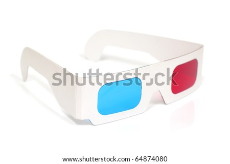 3D Red and Cyan Glasses - stock photo