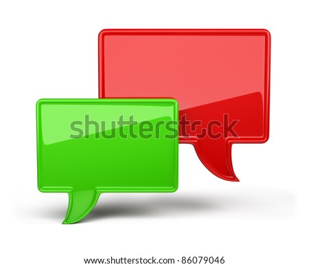 3d red and green bubble speech. 3d image. Isolated white background.