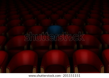 3d red and one blue cinema chairs