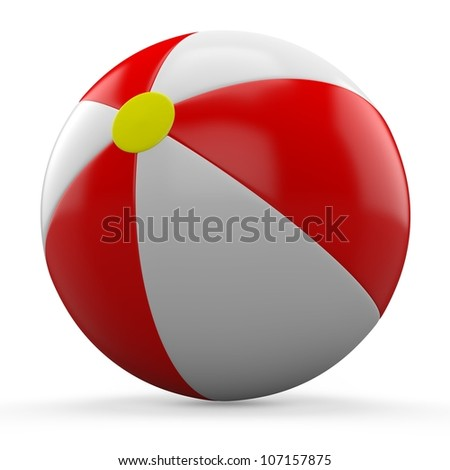3D Red and white beach ball isolated on white background.