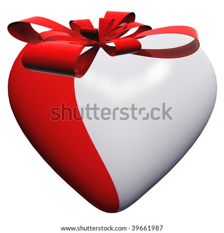 3D red and white glass heart isolated on white background with a red ribbon
