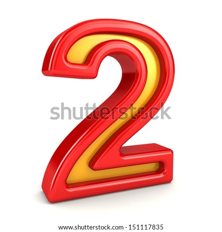 3d red and yellow number - 2 - stock photo