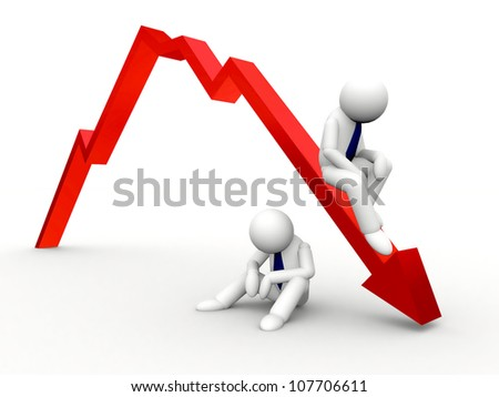 3d red arrow down in business graph - stock photo