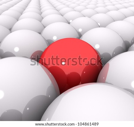 3d red ball of white balls - stock photo