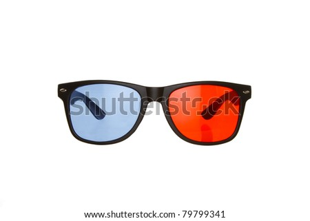 3D Red Blue (Anaglyph) Glasses Isolated on a White Background - stock photo